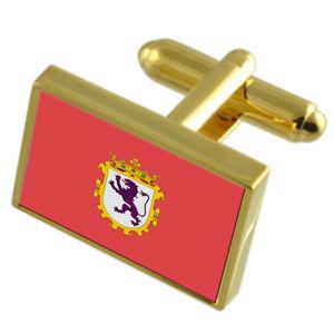 【送料無料】メンズアクセサリ― レオンスペインゴールドフラッグカフスボタンボックスleon city spain gold flag cufflinks engraved box