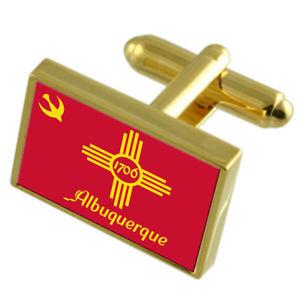 【送料無料】メンズアクセサリ― アルバカーキアメリカゴールドフラッグカフスボタンボックスalbuquerque city usa gold flag cufflinks engraved box