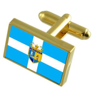 【送料無料】メンズアクセサリ― イキケチリゴールドフラッグカフスボタンボックスiquique city chile gold flag cufflinks engraved box