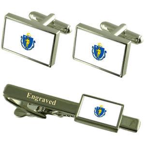 【送料無料】メンズアクセサリ― マサチューセッツカフスボタンタイクリップマッチングボックスmassachusetts flag cufflinks engraved tie clip matching box set