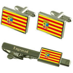 【送料無料】メンズアクセサリ― アラゴンカフスボタンタイクリップマッチングボックスaragon flag cufflinks engraved tie clip matching box set