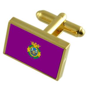 【送料無料】メンズアクセサリ― カディススペインゴールドフラッグカフスボタンボックスcadiz city spain gold flag cufflinks engraved box