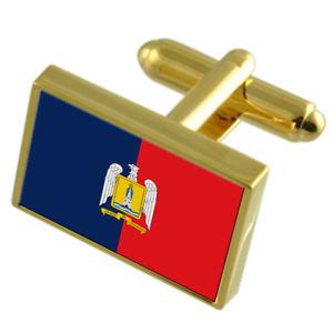 【送料無料】メンズアクセサリ― バルパライソチリゴールドフラッグカフスボタンボックスvalparaiso city chile gold flag cufflinks engraved box