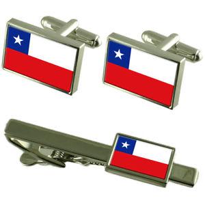 【送料無料】メンズアクセサリ― チリカフスボタンタイクリップマッチングボックスセットchile flag cufflinks tie clip matching box gift set