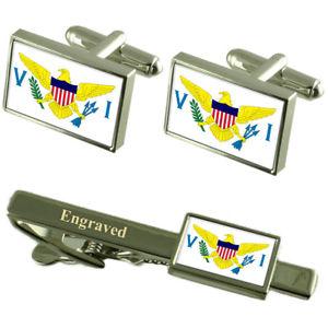 【送料無料】メンズアクセサリ― バージンカフスボタンタイクリップマッチングボックスvirgin islands flag cufflinks engraved tie clip matching box set