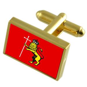 【送料無料】メンズアクセサリ― ウラジーミルロシアゴールドフラッグカフスボタンボックスvladimir city russia gold flag cufflinks engraved box