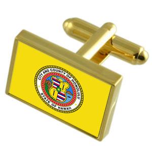 【送料無料】メンズアクセサリ― ホノルルアメリカゴールドフラッグカフスボタンボックスhonolulu city usa gold flag cufflinks engraved box