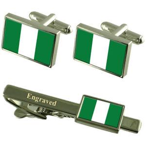 【送料無料】メンズアクセサリ― ナイジェリアカフスボタンタイクリップマッチングボックスnigeria flag cufflinks engraved tie clip matching box set