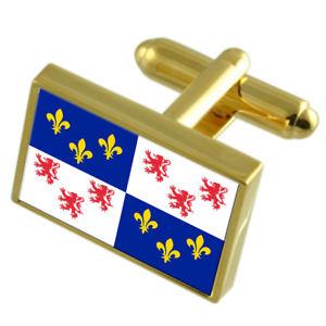 【送料無料】メンズアクセサリ― フランスゴールドフラッグカフスボタンボックスpicardy province france gold flag cufflinks engraved box