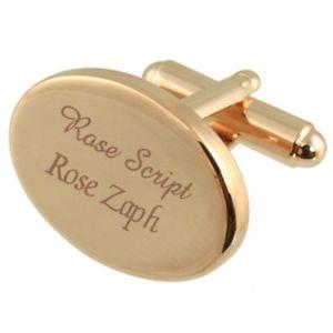【送料無料】メンズアクセサリ― メッセージボックスカフリンクスrose goldtone oval cufflinks engraved select in message box