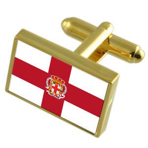 【送料無料】メンズアクセサリ― アルメリアスペインゴールドフラッグカフスボタンボックスalmeria city spain gold flag cufflinks engraved box