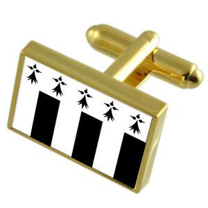 【送料無料】メンズアクセサリ― レンヌフランスゴールドフラッグカフスボタンボックスrennes city france gold flag cufflinks engraved box