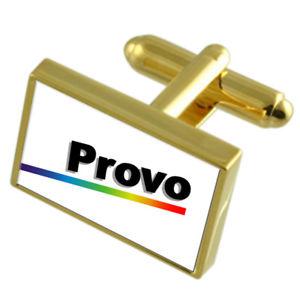 【送料無料】メンズアクセサリ― プロボアメリカゴールドフラッグカフスボタンボックスprovo city usa gold flag cufflinks engraved box