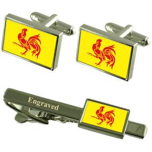 【送料無料】メンズアクセサリ― カフスボタンタイクリップマッチングボックスwalloon region flag cufflinks engraved tie clip matching box set
