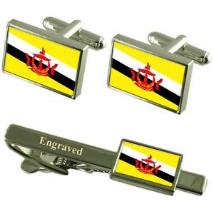 【送料無料】メンズアクセサリ― ブルネイカフスボタンタイクリップマッチングボックスbrunei flag cufflinks engraved tie clip matching box set