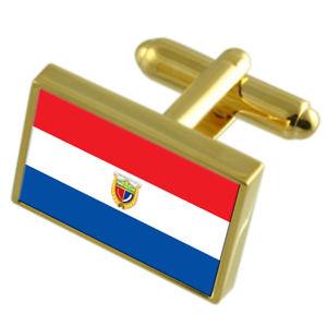 【送料無料】メンズアクセサリ― エクアドルゴールドフラッグカフスボタンボックスguaranda city ecuador gold flag cufflinks engraved box
