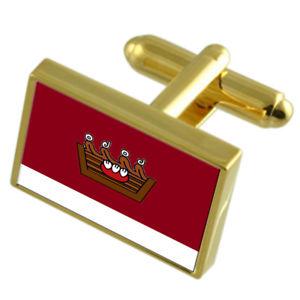【送料無料】メンズアクセサリ― メキシコゴールドフラッグカフスボタンボックスautlan city mexico gold flag cufflinks engraved box