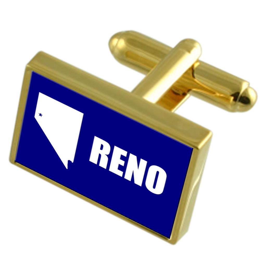 【送料無料】メンズアクセサリ― リノアメリカゴールドフラッグカフスボタンボックスreno city usa gold flag cufflinks engraved box