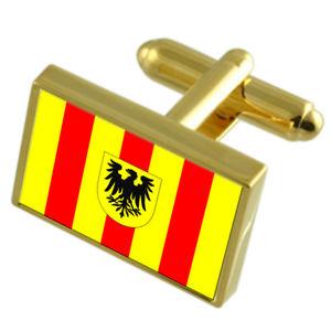【送料無料】メンズアクセサリ― ベルギーゴールドフラッグカフスボタンボックスmechelen city belgium gold flag cufflinks engraved box
