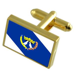 【送料無料】メンズアクセサリ― カフスボタンボックスponta grossa city south region gold flag cufflinks engraved box