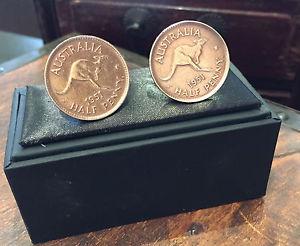 【送料無料】メンズアクセサリ― オーストラリアペニースターリングカフスリンク handcrafted australian half penny sterling silver cuff links choose the year