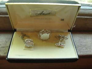 【送料無料】メンズアクセサリ― スターリングシルバーメンズカフリンクボックスanson sterling silver mens cuff link set, box, round, old