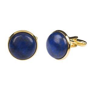 【送料無料】メンズアクセサリ― mensカフスリンクmens dark navy blue cufflinks boxed gold lapis lazuli gemstone work wedding male