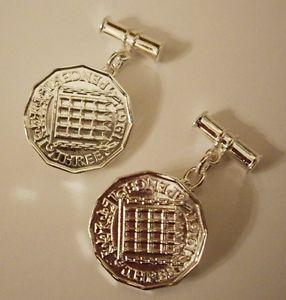 【送料無料】メンズアクセサリ― スターリングシルバービットコインカフスボタンチェーンバーベストセラーsterling silver 3d threepence thrupenny bit coin cufflinks chain t bar uk seller