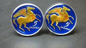 【送料無料】メンズアクセサリ― 1973ギリシアコインカフスリンクペガサス1973 greece enamelled coin cufflinks pegasus
