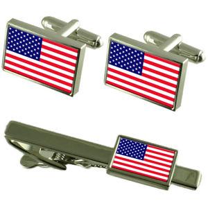 【送料無料】メンズアクセサリ― アメリカカフスボタンタイクリップマッチングボックスセットamerica flag cufflinks tie clip matching box gift set
