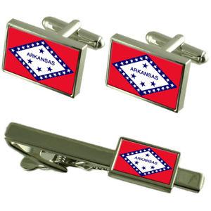 【送料無料】メンズアクセサリ― アーカンソーカフスボタンタイクリップマッチングボックスセットarkansas flag cufflinks tie clip matching box gift set