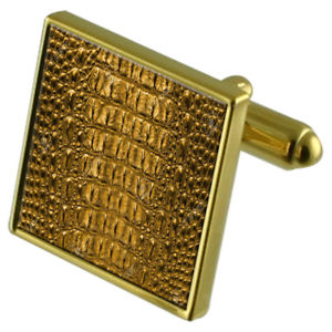【送料無料】メンズアクセサリ― ワニカフスボタンクリスタルタイクリップセットcrocodile skin goldtone cufflinks crystal tie clip gift set