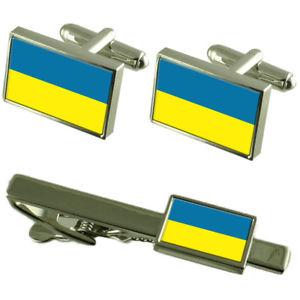 【送料無料】メンズアクセサリ― ウクライナフラグカフスリンクネクタイピンセットukraine flag cufflinks tie clip matching box gift set