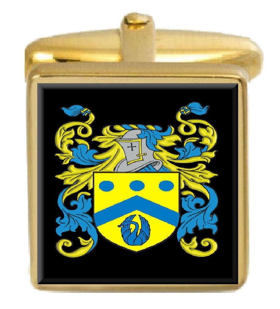【送料無料】メンズアクセサリ― イングランドカフスボタンボックスコートhylton england family crest surname coat of arms gold cufflinks engraved box
