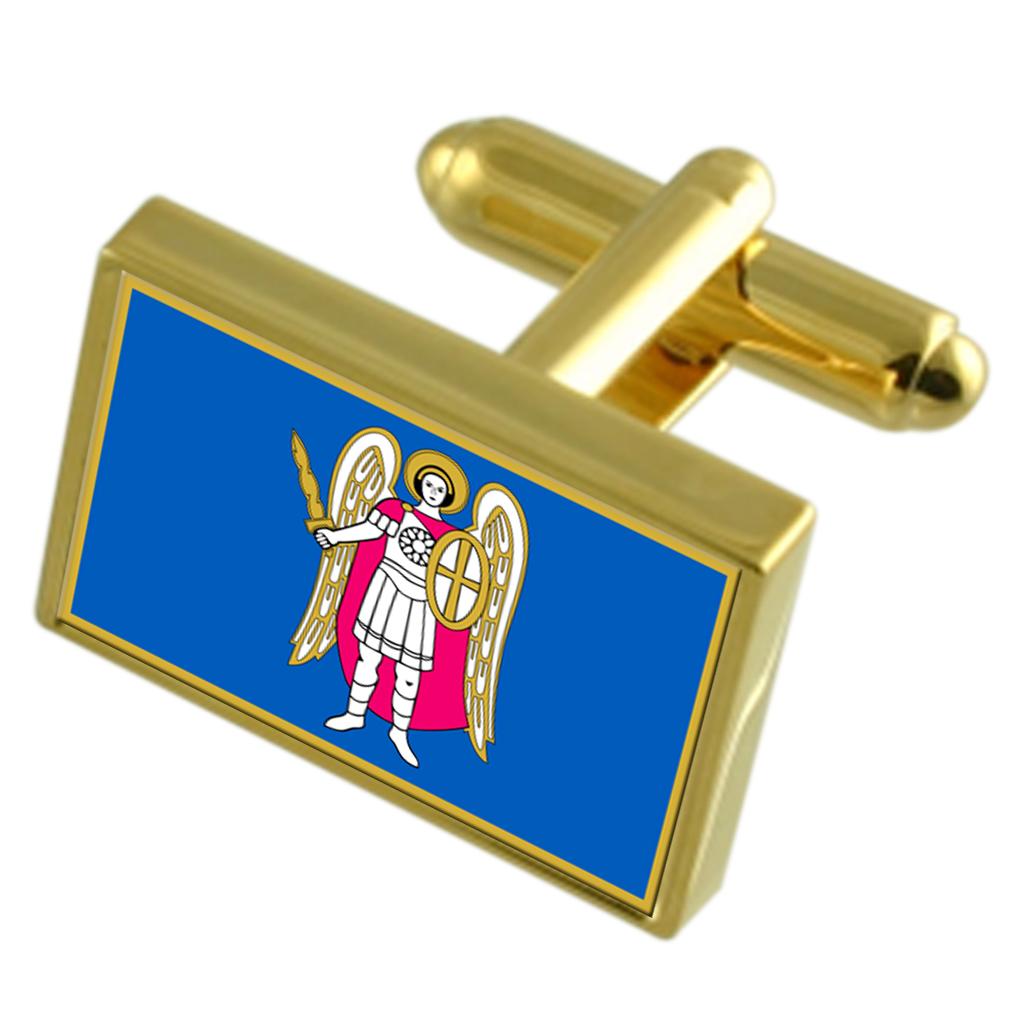 【送料無料】メンズアクセサリ― キエフウクライナゴールドフラッグカフスボタンボックスkiev city ukraine gold flag cufflinks engraved box