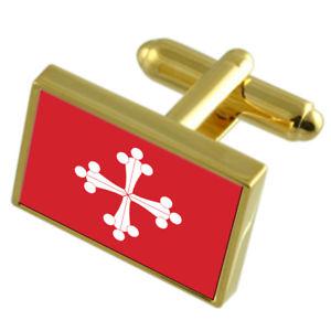 【2020 新作】 【送料無料】メンズアクセサリ― ピサイタリアゴールドフラッグカフスボタンボックスpisa city italy gold flag cufflinks engraved box, DANCE DEPOT 04ec16fe