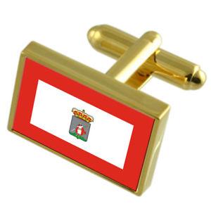 【送料無料】メンズアクセサリ― ヒホンスペインゴールドフラッグカフスボタンボックスgijon city spain gold flag cufflinks engraved box