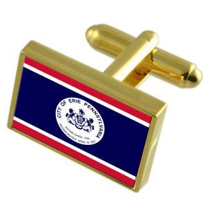 【送料無料】メンズアクセサリ― エリーアメリカゴールドフラッグカフスボタンボックスerie city usa gold flag cufflinks engraved box