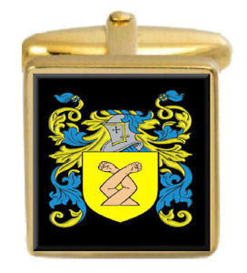 【送料無料】メンズアクセサリ― イングランドカフスボタンボックスコートhobby england family crest surname coat of arms gold cufflinks engraved box