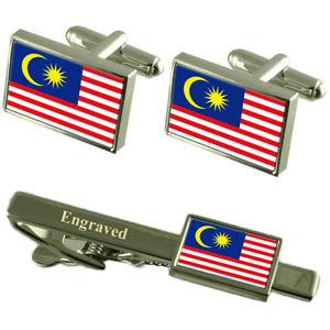 【送料無料】メンズアクセサリ― マレーシアフラグカフスリンクボックスセットネクタイピンmalaysia flag cufflinks engraved tie clip matching box set