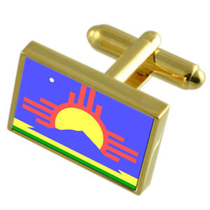 【送料無料】メンズアクセサリ― ロズウェルシティアメリカゴールドフラッグカフスボタンボックスroswell city usa gold flag cufflinks engraved box
