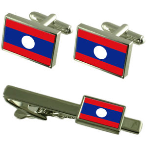 【送料無料】メンズアクセサリ― ラオスカフスボタンタイクリップマッチングボックスセットlaos flag cufflinks tie clip matching box gift set