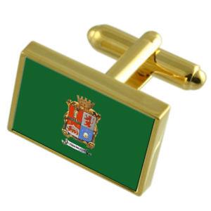 現品限り一斉値下げ! 【送料無料】メンズアクセサリ― レオンメキシコゴールドフラッグカフスボタンボックスleon city mexico gold flag cufflinks engraved box, ぬくもり工房 6b75b9c1