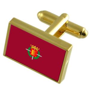 【送料無料】メンズアクセサリ― バリャドリッドスペインゴールドフラッグカフスボタンボックスvalladolid city spain gold flag cufflinks engraved box