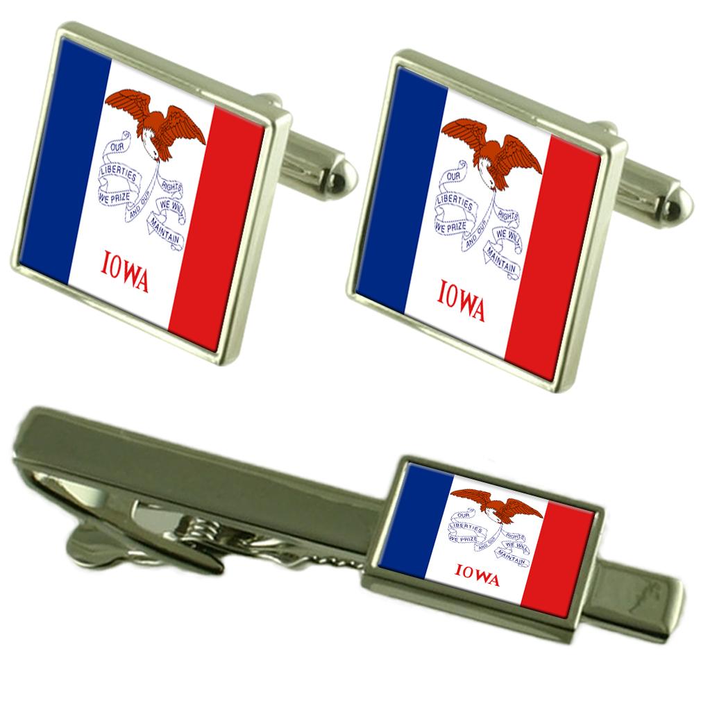 【送料無料】メンズアクセサリ― アイオワカフスボタンタイクリップマッチングボックスセットiowa flag cufflinks tie clip matching box gift set