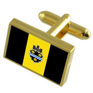 【送料無料】メンズアクセサリ― ピッツバーグアメリカゴールドフラッグカフスボタンボックスpittsburgh city usa gold flag cufflinks engraved box