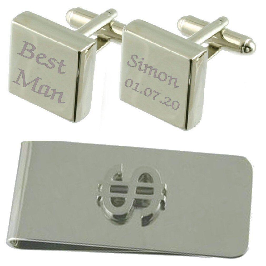 【送料無料】メンズアクセサリ― スクエアカフスボタンドルマネークリップセットbest man engraved square cufflinks dollar money clip gift set