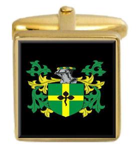【送料無料】メンズアクセサリ― バリカフスリンクburr england family crest surname coat of arms gold cufflinks engraved box