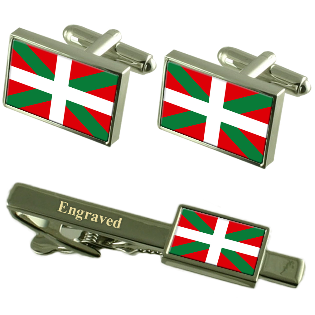 【送料無料】メンズアクセサリ― バスクフラグカフスリンクボックスセットネクタイピンbasque flag cufflinks engraved tie clip matching box set
