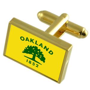 【送料無料】メンズアクセサリ― オークランドシティアメリカゴールドフラッグカフスボタンボックスoakland city usa gold flag cufflinks engraved box